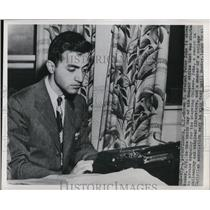 1950 Press Photo Brown University Student Peter John Providence Rhode Island