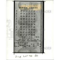 1988 Press Photo Ohio Supper Lotto Ticket