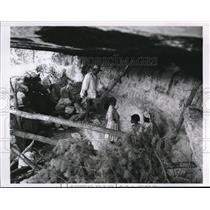 1966 Press Photo Jose Nava and family in home cave at Chihuahua