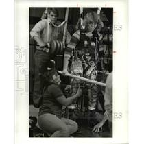1982 Press Photo The Girl in brace learn to stand on her Feet.