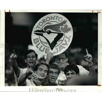 1992 Press Photo The Toronto fans with a blue jays emblem