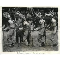 1937 Press Photo Deer Dancers of the San Juan Pueblo Indians