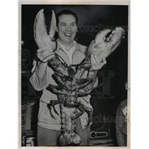1949 Press Photo Vince Mondi of New Hyde Park holds 40 lb lobster he caught