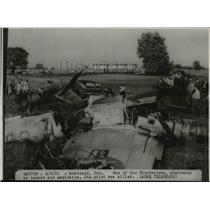 1951 Press Photo One of the Thunder jets shattered by explosion