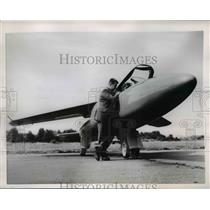 1954 Press Photo The Folland Midge jet plane at the Farnborough Air Show