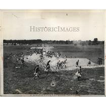 1931 Press Photo The cannon fire and smoke in the vicinity during the practice