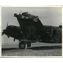 1943 Press Photo The wreckage of a fighter plane