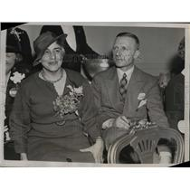 1936 Press Photo Capt. and Mrs. Boerge Rohde, election results, Hotel Biltmore