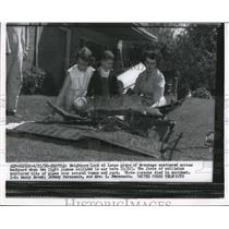 1956 Press Photo Neighbors look at plane wreckage scattered across backyard