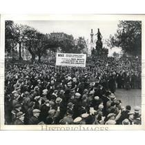 1934 Press Photo Paris France crowds by Socialists & Communists protesting