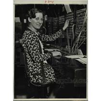 1931 Press Photo Miss Mary Pisani Handles Phone Calls from Washington to Rome