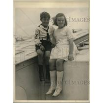 1922 Press Photo Raymond,7, & Phyllis Knight, 9, sailed alone from England
