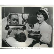 1951 Press Photo Thomas Smith celebrates 19th Birthday, Englewood Hospital, Conn