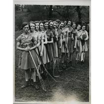 1934 Press Photo Britsh Womens Lacrosse, Valentine,Lochley,Dunlap - nes27163