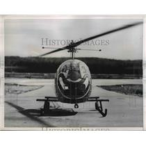 1956 Press Photo H-13 Modified Helicopter With Bozo Make Up On It