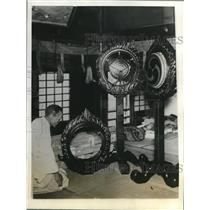 1928 Press Photo Finishing touches in the sacred drums in music festival