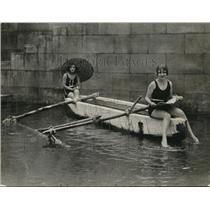 1925 Press Photo Rita Carita and Josephine take little row everyday as exercise