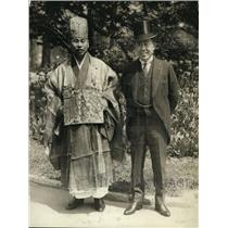 1923 Press Photo Gempo Yamamoto Abbot of Ryutakuji Temple & Amb Hannihara