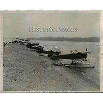 1935 Press Photo Seaplanes line up before they take off