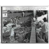 1961 Press Photo Firemen Sift Through Plane Wreckage in Riverside, CA