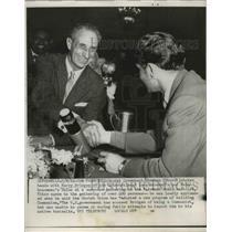 1962 Press Photo San Francisco Soviet Cosmonaut shakes hands with Harry Bridges.