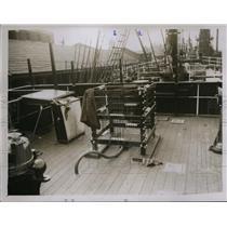1929 Press Photo Ship Discovery & Sir Douglas Mawson on voyage