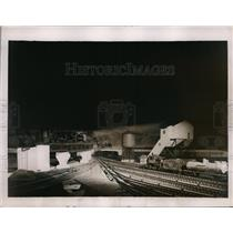 1937 Press Photo Freight yard of model railroad built to scale
