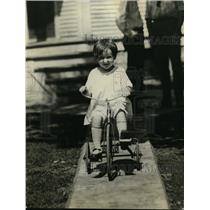 1921 Press Photo Virginia Gibbons on her tricycle