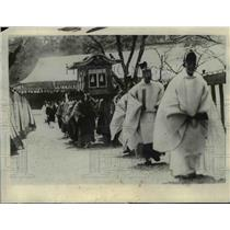 1928 Press Photo Casket containing body of Her Highness Sachiko Hisa-no-Miya