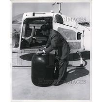 1955 Press Photo Long Range Fuel Kit Consists of 52 Gallan US Rubber Barrel