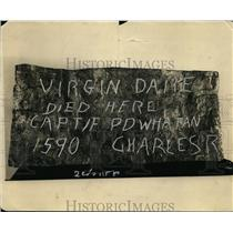1924 Press Photo Hammered Lead Sign States Virgin Dare Died Here - nee56398