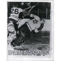 1960 Press Photo Montreal Maple Leaf goalie John Bower, Al Stanley vs Canadiens