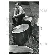 1988 Press Photo David Schenck w/ the cut trees on Jay Ave ordered by Ohio City