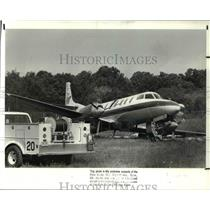 1988 Press Photo Plane Crash on Cleveland Hopkins Airport