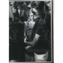 1968 Press Photo Mrs. J Kennedy Cradles Head of John Talks to Newsmen