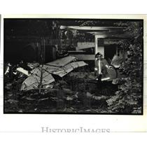 1990 Press Photo single engine light plane crashed on a house, Willoughey Hills