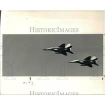 1991 Press Photo Russian Mig-29 jets do a fly by over Burke Air Port