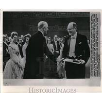 1961 Press Photo Dr.Willard F.Libby Shakes Hands with King Gustaf