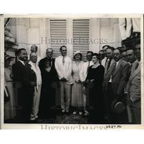 1933 Press Photo Members of Spanish Benevolent Societies, Pres Grau San Martin