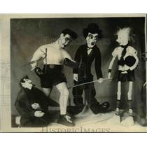 1923 Press Photo Dolls in likeness of C Chaplin, J Dempsey, priest & an athlete