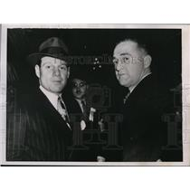 1938 Press Photo Brooklyn Dodgers manager Leo Durocher with Frank Frisch