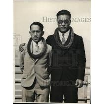 1931 Press Photo Amateur wrestler Isao Toyama & flyweight Kui Hin Young
