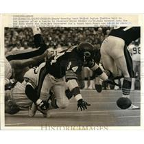 1956 Press Photo Chicago Bears Walter Payton fumbles vs Steelers Bryne Hinkle