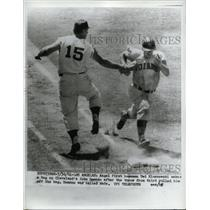 1961 Press Photo LA Calif Angel's Ted Kluszewski tags Indians John Ramopno out