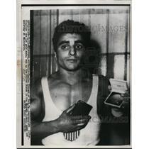 1955 Press Photo Melbourne Australia Charles Vincent bantamweight lifter gold