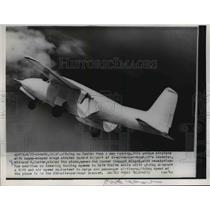1954 Press Photo Custer Channel Wing-5 Flying Speed 200 MPH in Oxnard California