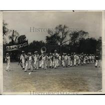 1928 Press Photo Boston Mass. Boy Scouts from Quincy Mass on the Green