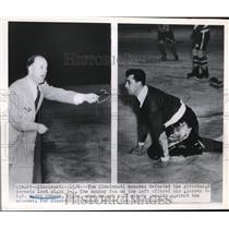 1950 Press Photo Mohawks hockey vs Pittsburgh Ref Harry Ornest - nes35773