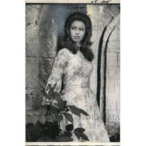 1971 Press Photo Princess Anne in Voile Dress Gothic Ruin Summer House Windsor