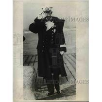 1931 Press Photo King Gustaf of Sweden in Admiral Uniform  - nee78297